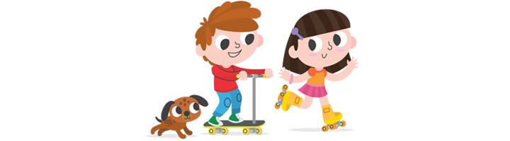 spelende kinderen op step met hond